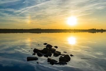 Beautiful sunset landscaoe at the Markkleeberger Lake near Leipzig, Germany