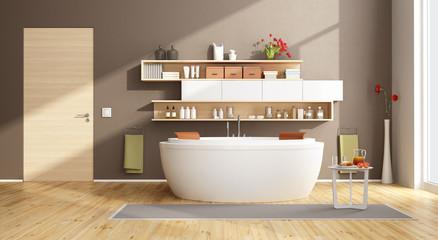 Moder bathroom with round bathtub