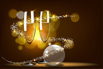 Vector romantic christmas background with two glasses and christmas balls.