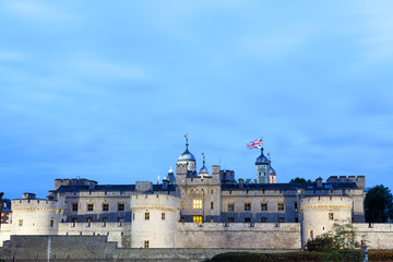 London nights at London Tower castle during the blue hour