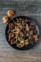 mongolian beef asian dish top view