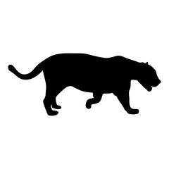 black silhouette of running leopard on white background of vector illustration