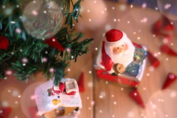 ฺBlur decorate under Christmas tree.