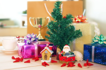 Christmas tree decoration with santa claus and gifts,