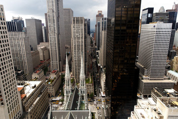 Look from above at the Saint Patrick's Cathedral in New York
