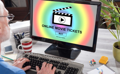 Online movie tickets buying concept on a computer