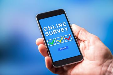 Online survey concept on a smartphone