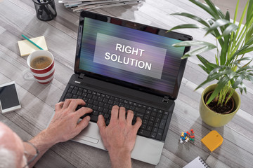 Right solution concept on a laptop
