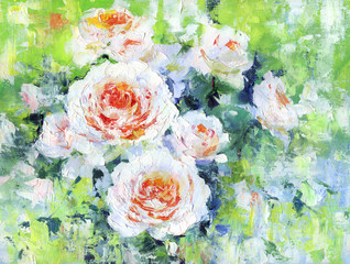 Roses, oil painting on canvas.