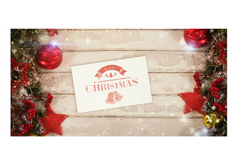 Notecard with Christmas Decorations Mockup