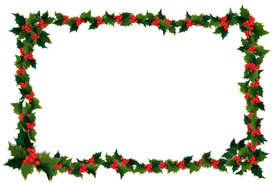 Illustation of holly leaves and berries in a Christmas frame