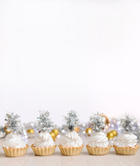 Christmas cakes with decor, ideas for the new year, background