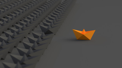 Leadership, success, and teamwork concept, orange leader boat leading black boats. 3D Rendering.