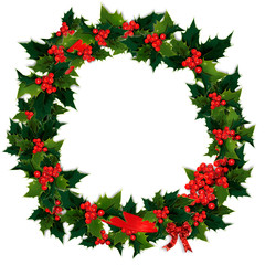 Illustration of  holly, berry and red ribbon Christmas wreath