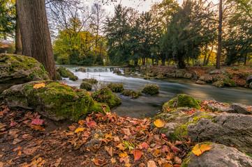 Herbst im Englischen Garten mit Flus und bunten Blätter