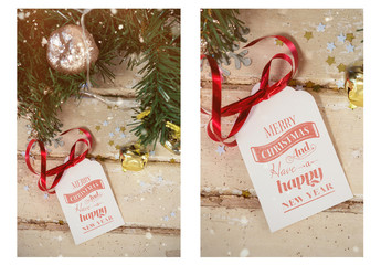 Christmas Gift Tag with Decorations Mockup