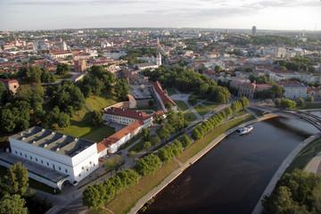 VILNIUS: Aerial View of Vilnius Old Town, river Neris in Vilnius, Lithuania