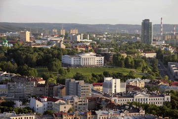 VILNIUS, LITHUANIA, View of a building situated on top of the Tauras hill in Vilnius, Lithuania.