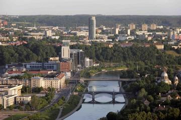 VILNIUS: Aerial View of city center, river Neris in Vilnius, Lithuania