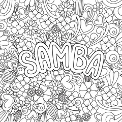 Samba Zen Tangle. Doodle background with flowers and text for the partner dancing.