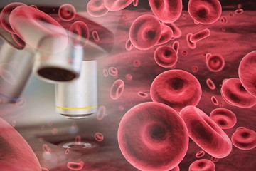 Composite image of graphic image of red blood cells