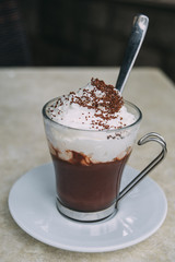 Glass of hot chocolate with whipped cream