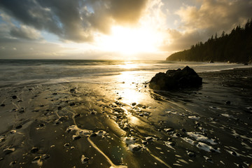 Sunset over Mystic Beach on Vancouver Island in Canada