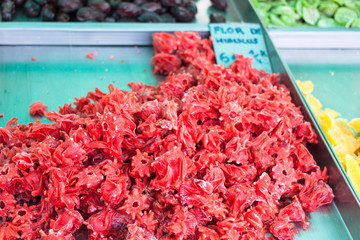 Dried Hibiscus flowers (flor de hibiscus) for sale in the stall of Sineu market, Majorca, Spain