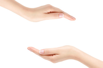 Empty two female hands on white background.