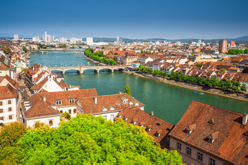 Old city center of Basel with Munster cathedral and the Rhine river, Switzerland