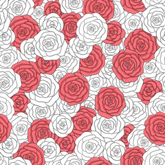 Hand drawn vector white and red roses seamless pattern. Abstract delicate floral ornament.