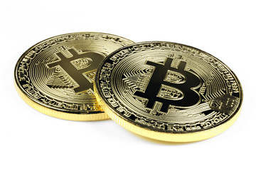 golden bitcoins isolated on white background