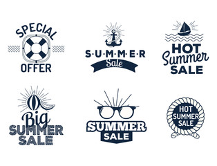 Summer sale clearance vector badges some shopping hand drawn advertising labels illustration.