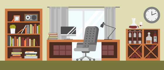 Interior details design stylized drawing modern interior house residence luxury apartment furniture decoration vector illustration.