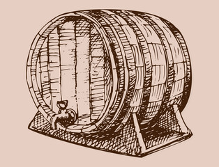 Wooden barrel vintage old hand drawn sketch storage container liquid beverage fermenting distillery cargo drum lager vector illustration.