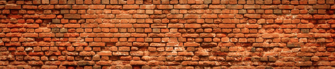 Red Brick wall panoramic background in high resolution