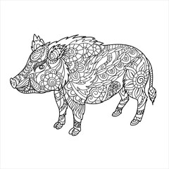 Wild boar coloring book. Forest animal in doodle style. Anti-stress coloring for adult. Zentangle picture. Vector illustration.