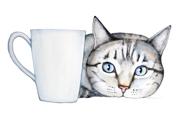 Closeup portrait of a cute striped cat with big blue eyes, lying next to a white classic mug. The white mug can be used as a background for your text message. Watercolor illustration, isolated
