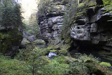 Wild autumn Landscape around the Creek Kamenice in the Czech Switzerland with Sandstone Boulders, Czech Republic