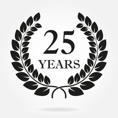 25 years. Anniversary or birthday icon with 25 years and  laurel wreath. Vector illuatration.