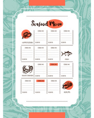 Delicious Seafood - vector drawn template menu