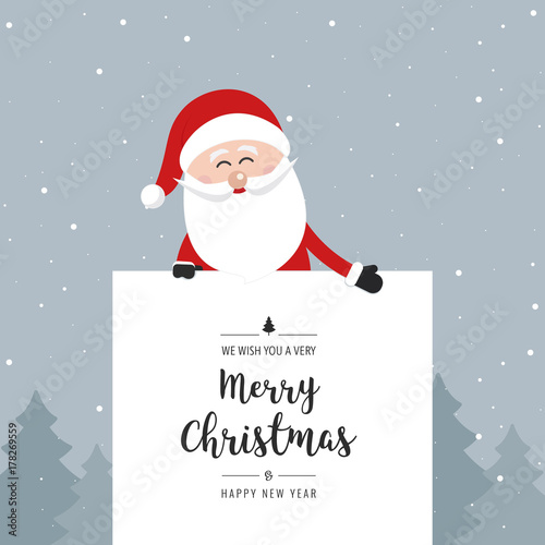 santa claus behind banner merry christmas greeting text winter landscape background - Merry Christmas Wishes Text