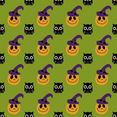 halloween pattern with owl and pumpkin