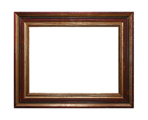 Vintage painted picture frame isolated on white