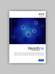 Realistic virus vector on blue background. Medical journal cover template