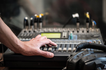 Working With Analogic Sound Mixer. Professional audio mixing console radio and TV broadcasting
