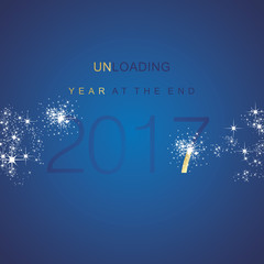 The End 2017 unloading spark firework gold blue vector