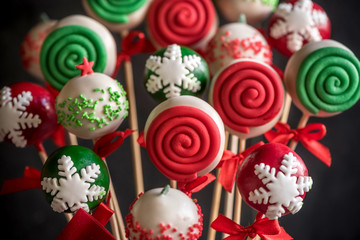 Christmas decoration on cake pops,selective focus