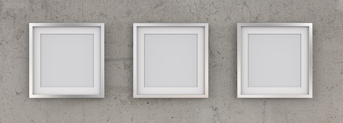 3 Square Picture Frames of Metal on Rough Concrete Wall. Row of 3 Square Metal Frames on rough concrete wall with white Passe-partout. Blank for Copy Space. 3D render.