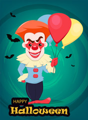 Halloween invitation or greeting card. Smiling evil clown with air balloons.